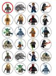 24 Lego Star Wars Edible Wafer Paper Cup Cake Toppers